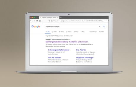 Schwanger.li I Google Ads, SEO